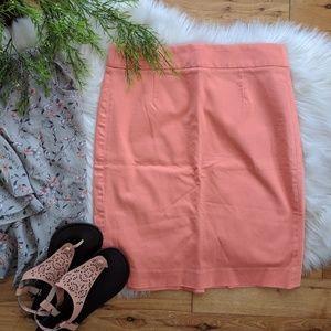 {J. Crew} coral pencil skirt
